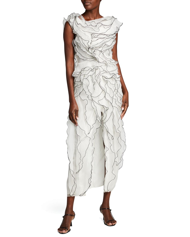 Two-Tone Ruffled Organza Open-Back Dress