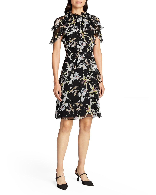Orchid Print Silk Chiffon Dress w/ Flutter Trim