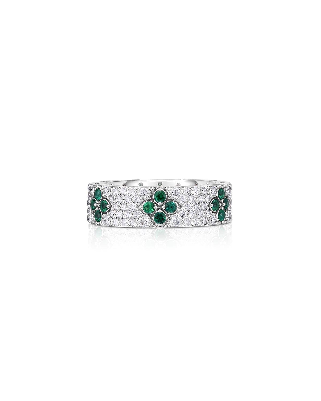 18k White Gold Love in Verona Diamond and Emerald Ring