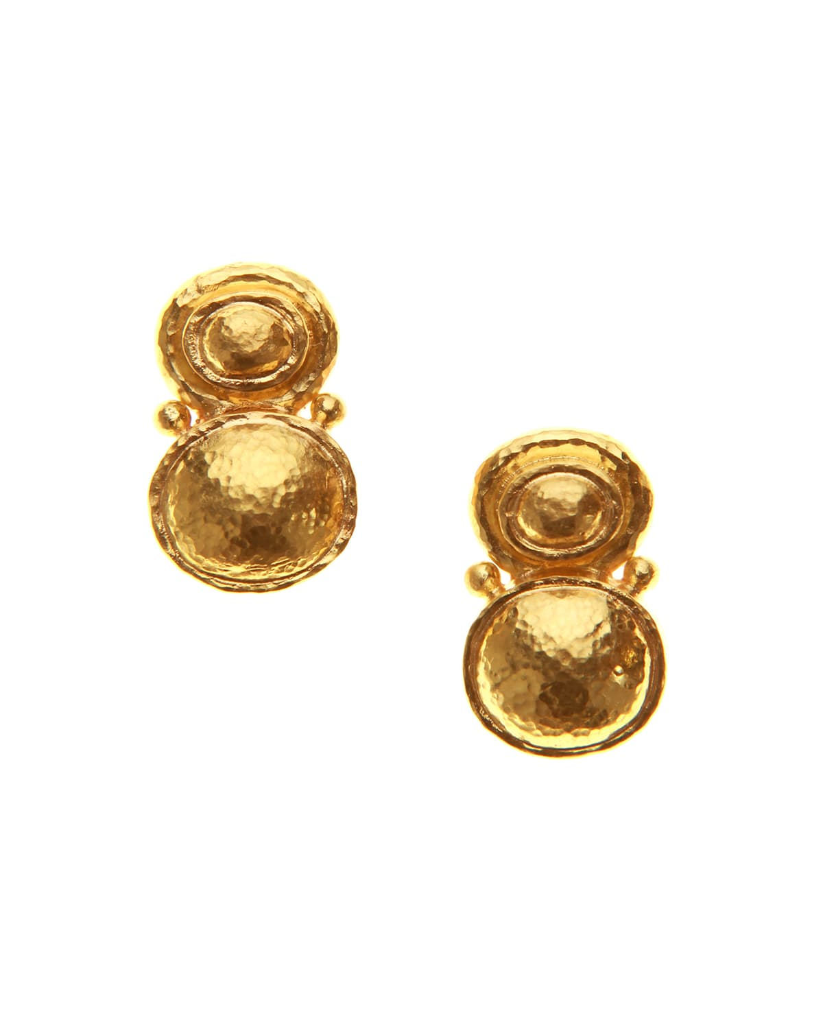 19k Yellow Gold Stacked Horizontal Oval Earrings