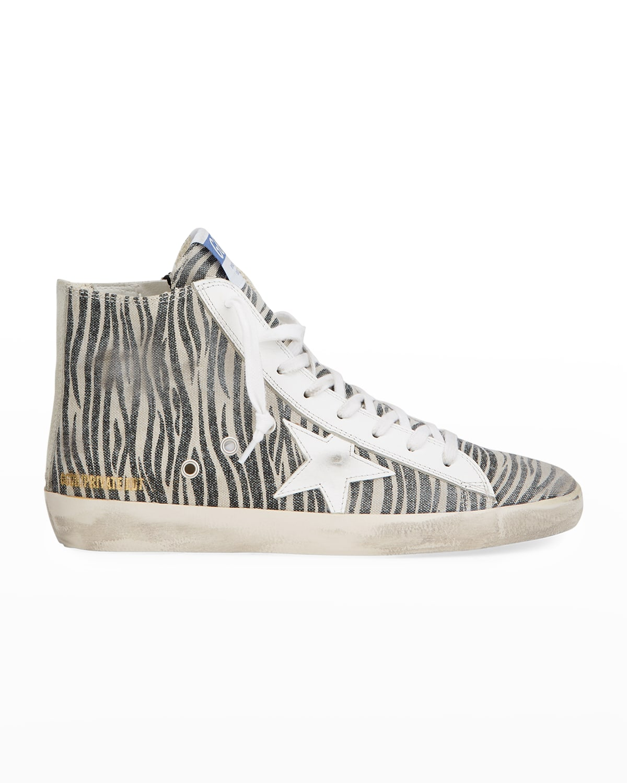 Zebra-Print Canvas Sneakers