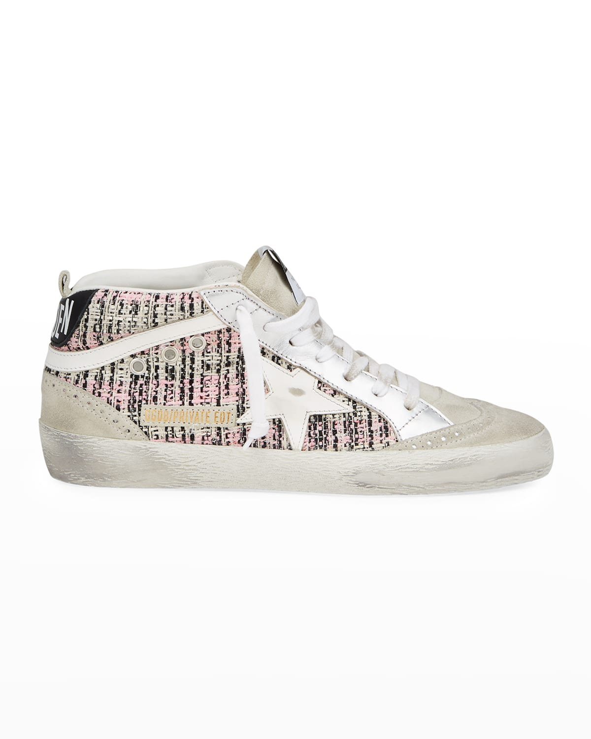 Star Boucle & Laminated Leather Mid-Top Sneakers