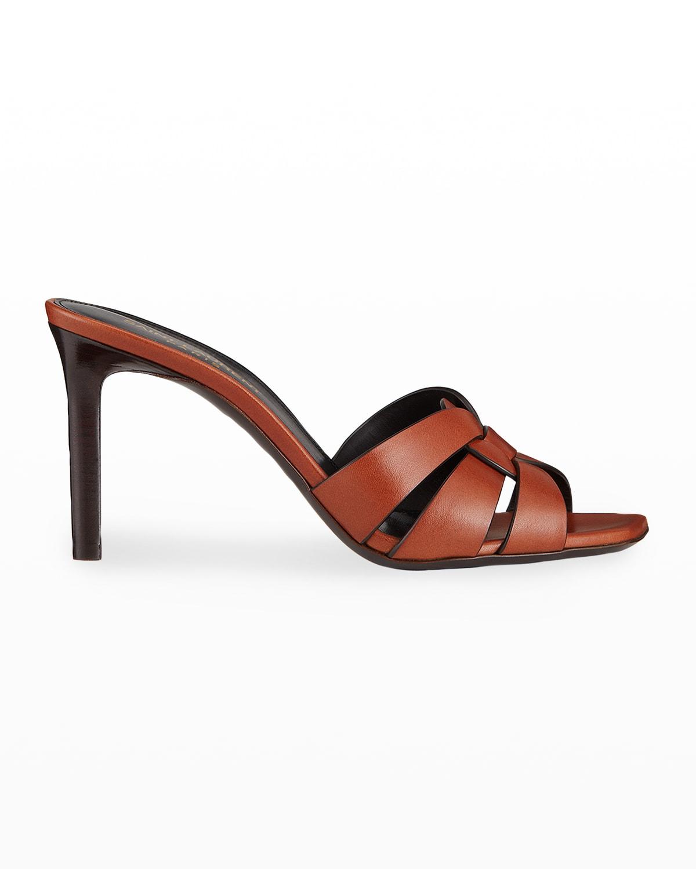 Tribute Woven Calfskin Stiletto Sandals