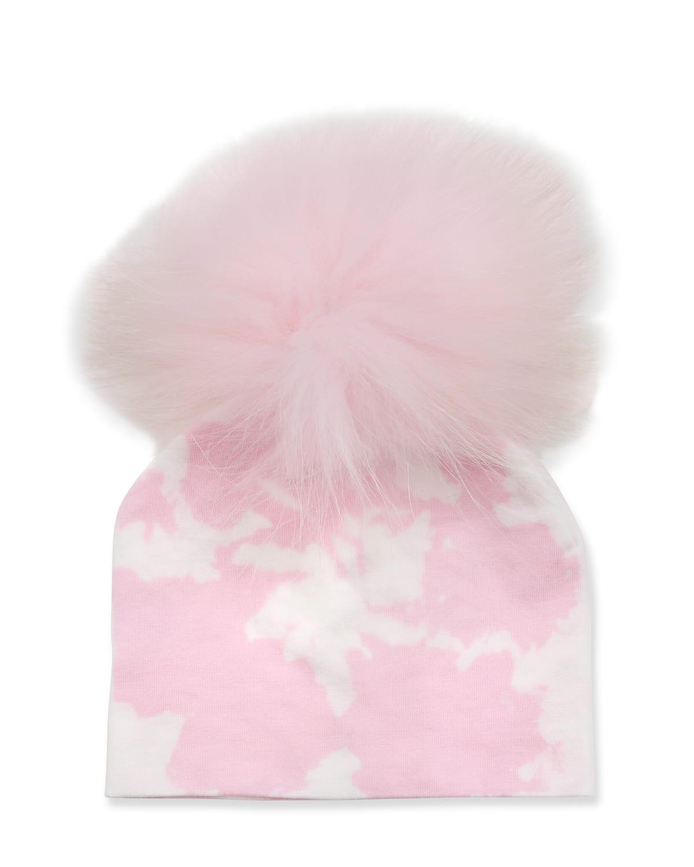 Girl's Tie-Dye Knit Beanie w/ Fur Pompom