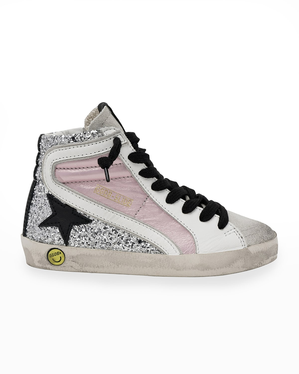 Slide Laminated Leather & Glitter High-Top Sneakers