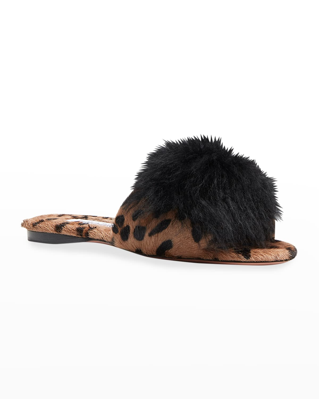 Foxy Calma Leopard-Print Pom Sandals