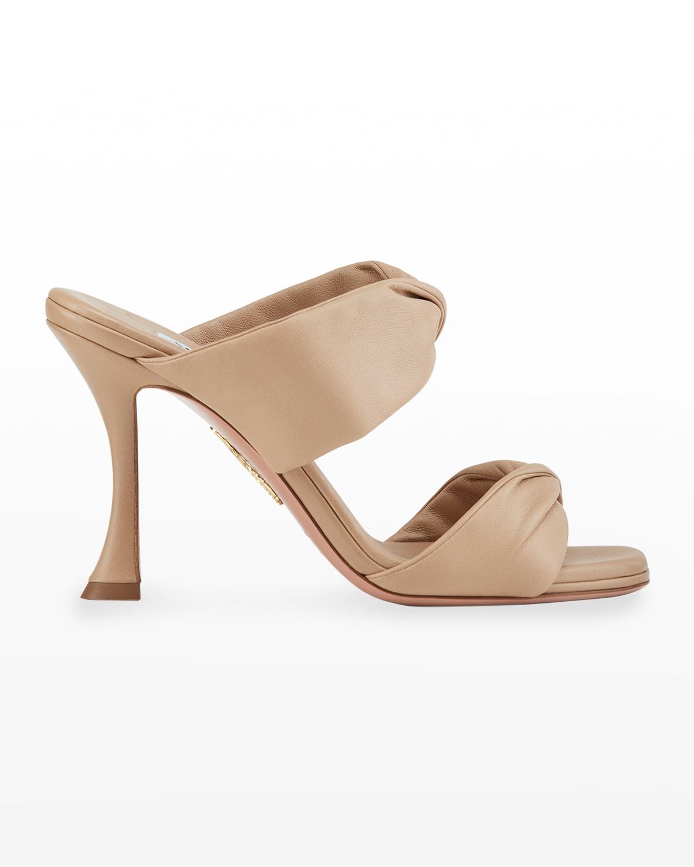 Leather Twist Heel Slide Sandals