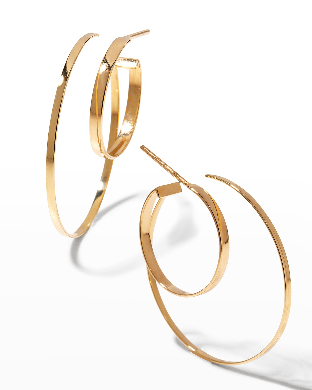 Connecting Large Flat Gold Double-Hoop Earrings