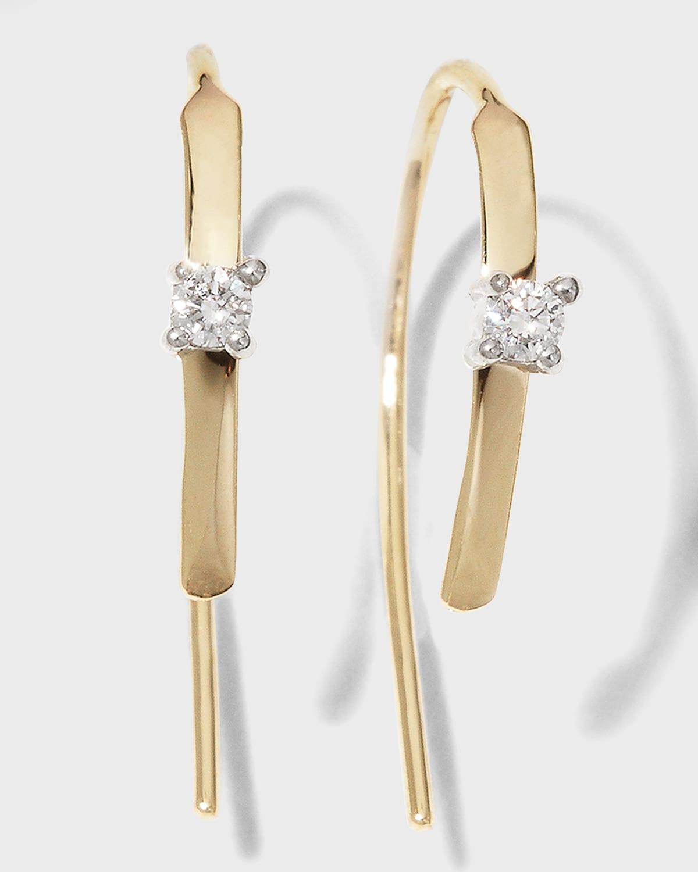 Mini Flat Hooked on Hoop Earrings with Diamonds