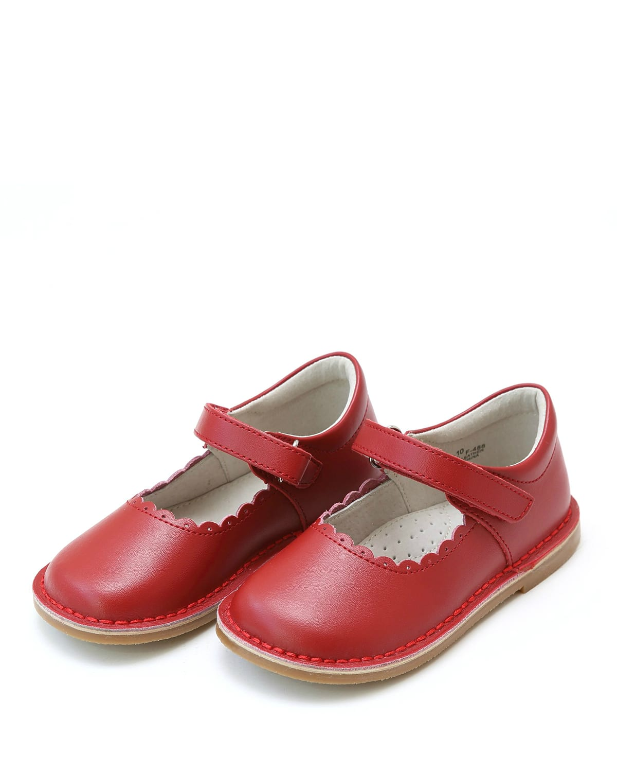 Girl's Caitlin Scalloped Grip-Strap Mary Jane Shoes