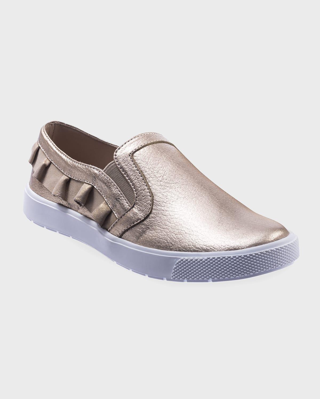 Girl's Metallic Ruffled Slip-On Sneakers
