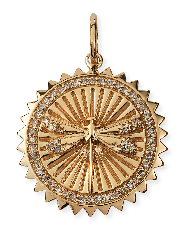 Dragonfly 14k Yellow Gold Diamond Pendant