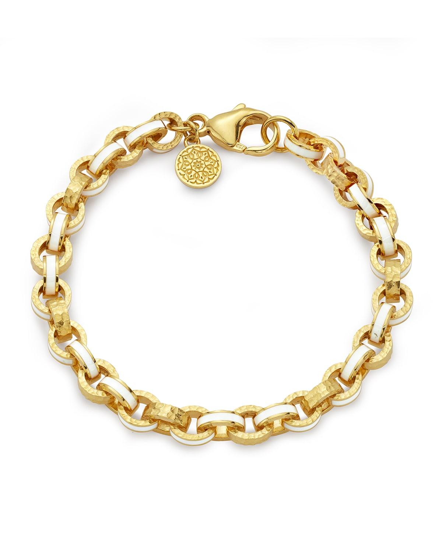 White Enamel 7mm Link Bracelet