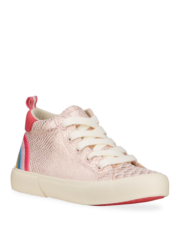 Girl's Metallic Snake-Print Sneakers