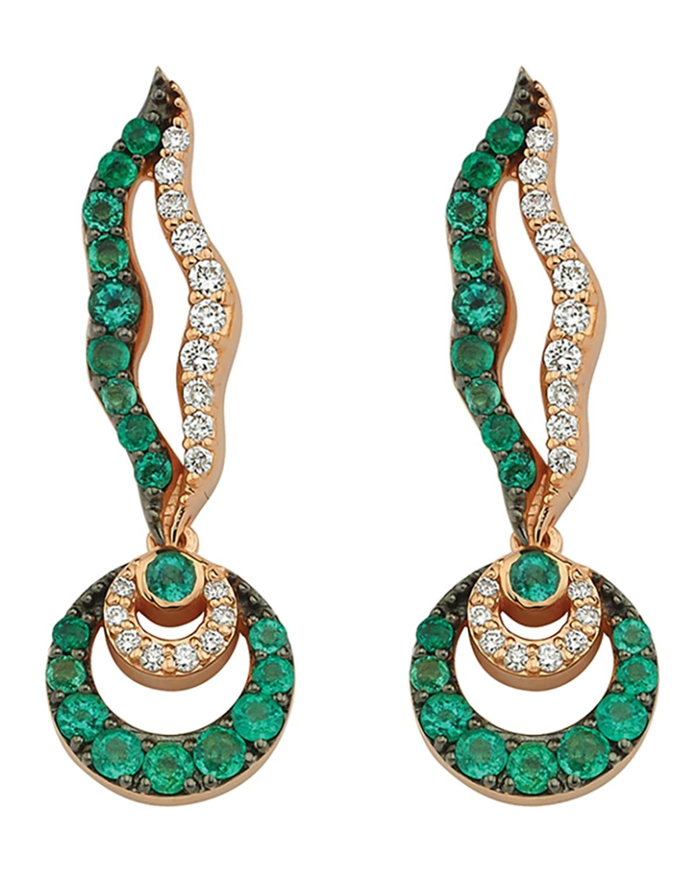 14k Rose Gold Chintamani Emerald and Diamond Hoop Drop Earrings