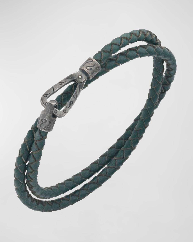 Men's Lash Braided Leather Double-Wrap Bracelet
