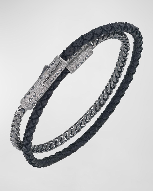 Men's Lash Sterling Silver Chain & Leather Double Wrap Bracelet