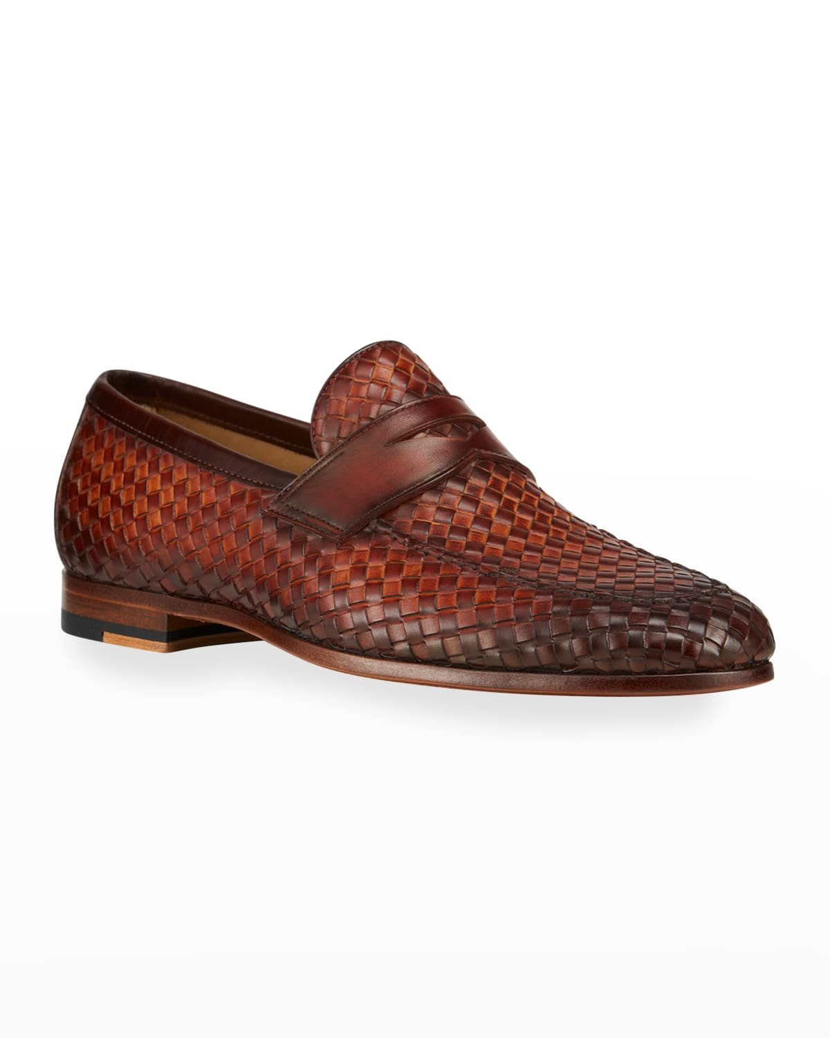 Men's Woven Leather Penny Loafers