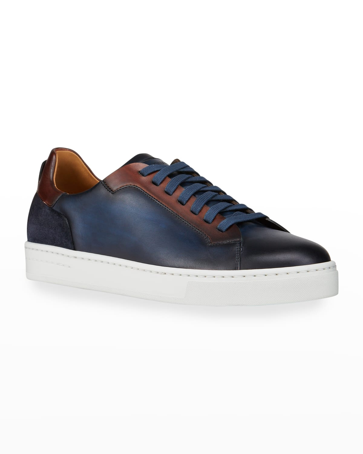 Men's Mix-Leather Low-Top Sneakers