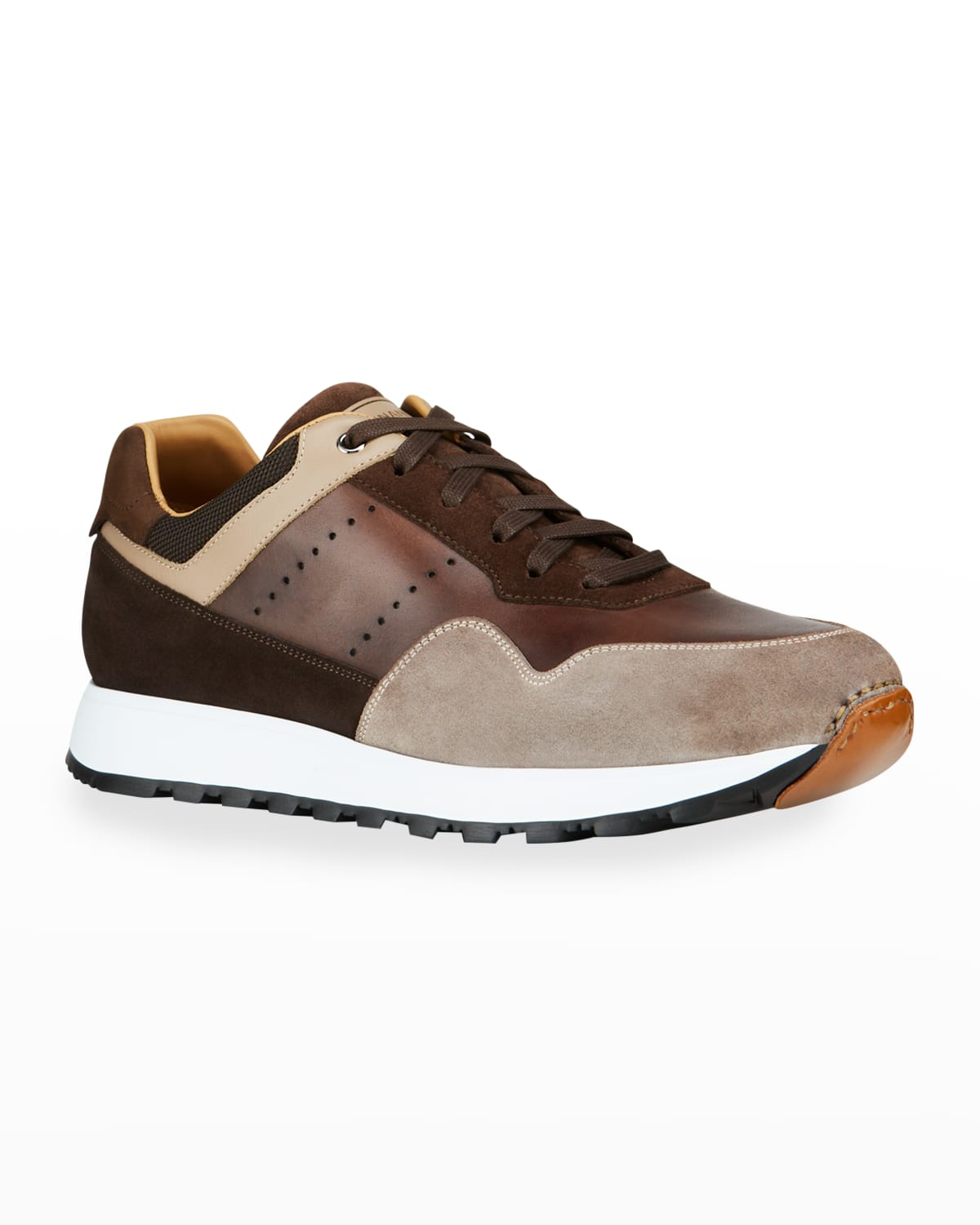 Men's Earthe Tone Mix-Leather Runner Sneakers