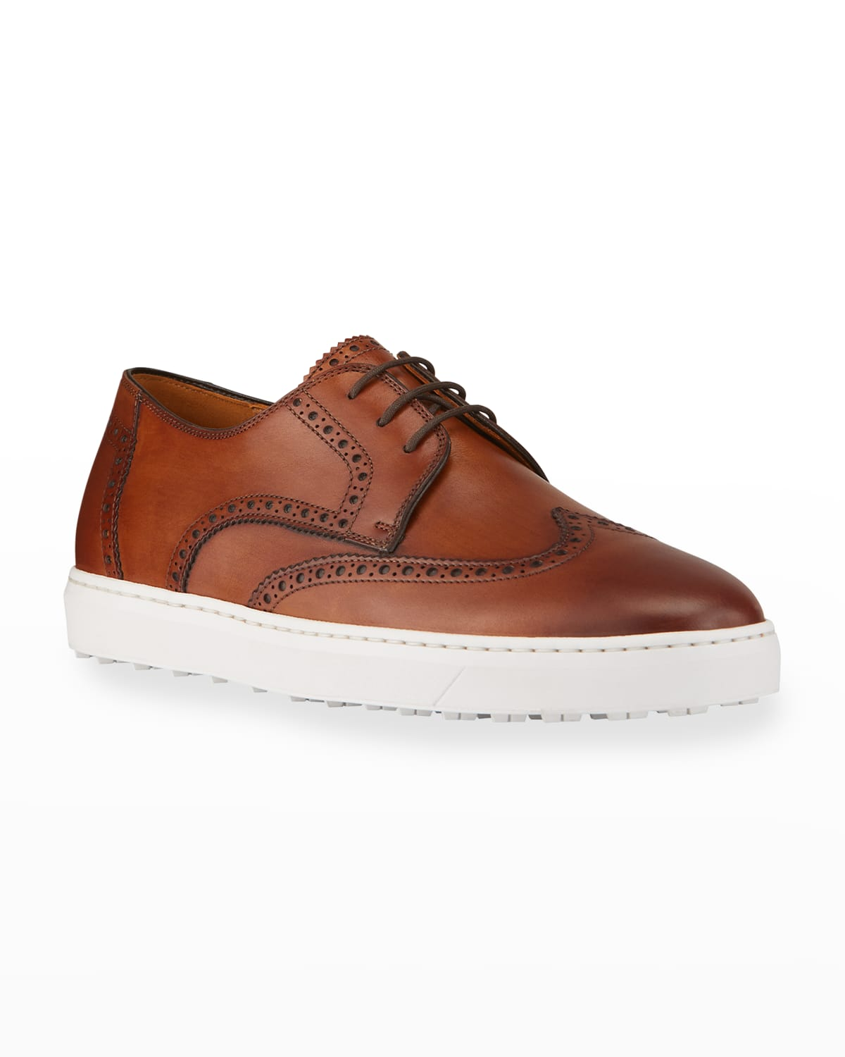 Men's Leather Wing-Tip Low-Top Sneakers