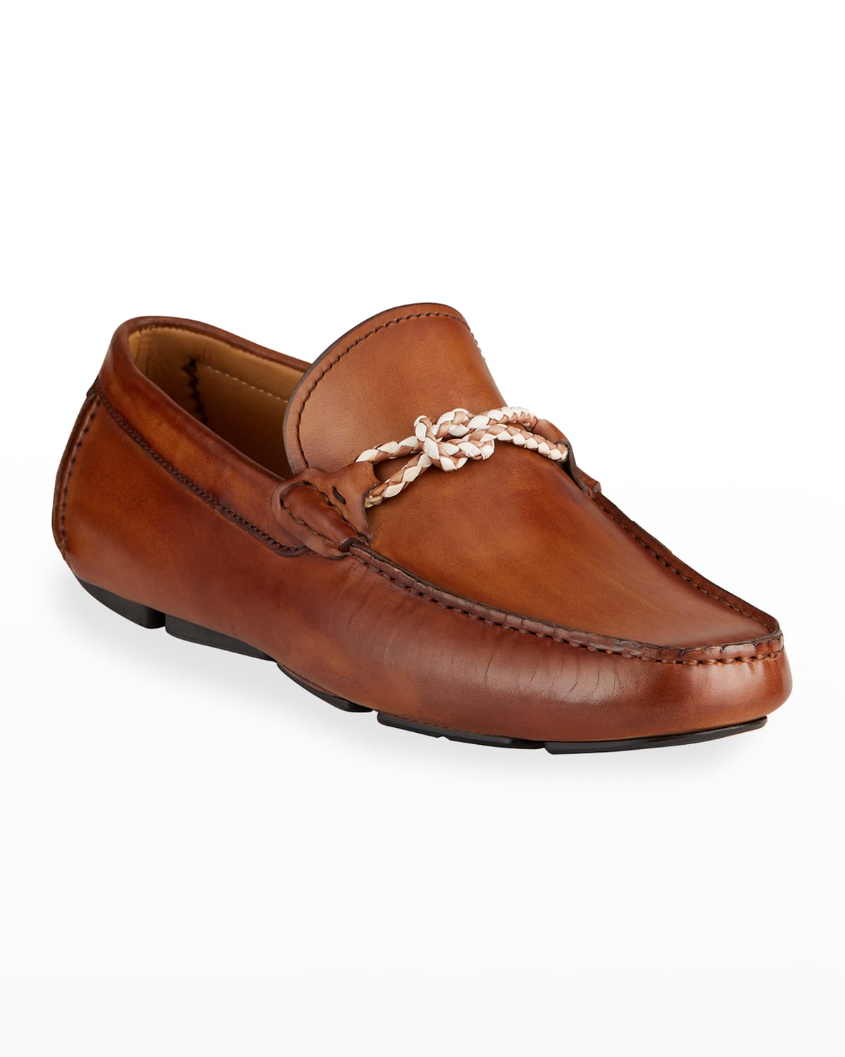 Men's Leather Drivers w/ Woven Strap
