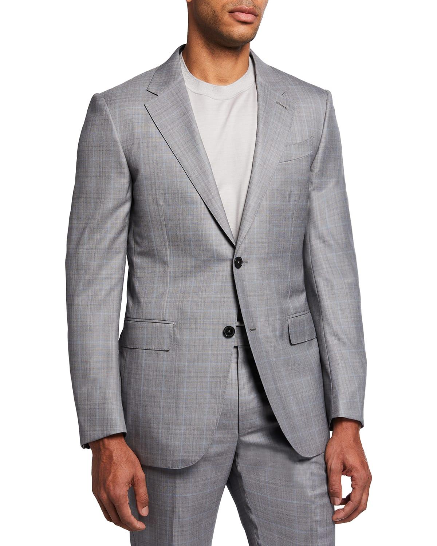 Men's Wool-Silk Windowpane Two-Piece Suit
