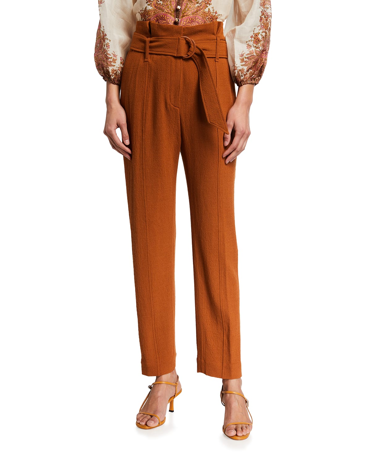 Henny Textured Cropped Paperbag Pants