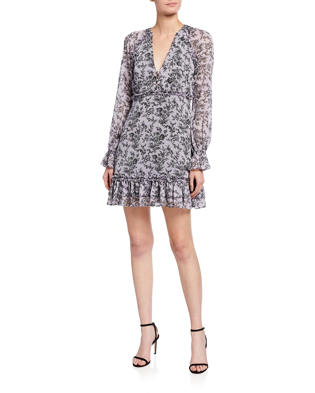 Amber V-Neck Floral-Print Mini Dress