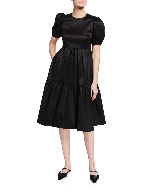 Charlotte Empire-Waist Satin Dress