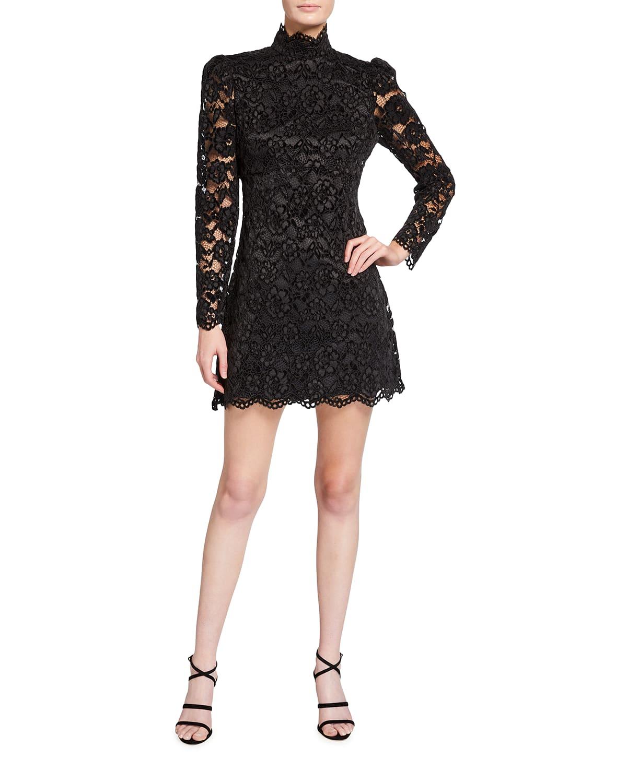 Cupani Mock-Neck Lace Mini Dress