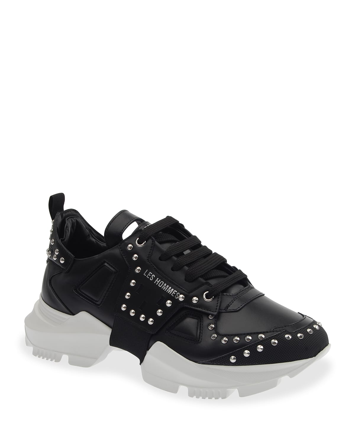 Men's Studded Leather Chunky Low-Top Sneakers