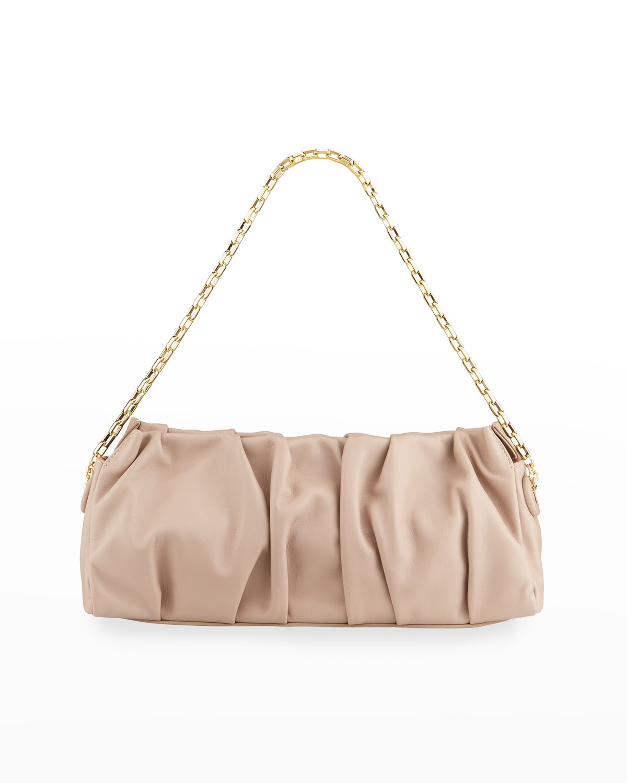 Long Vague Pleated Chain Shoulder Bag