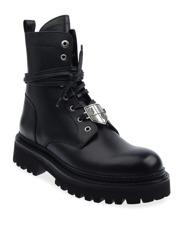 Men's Crest Logo Leather Combat Boots
