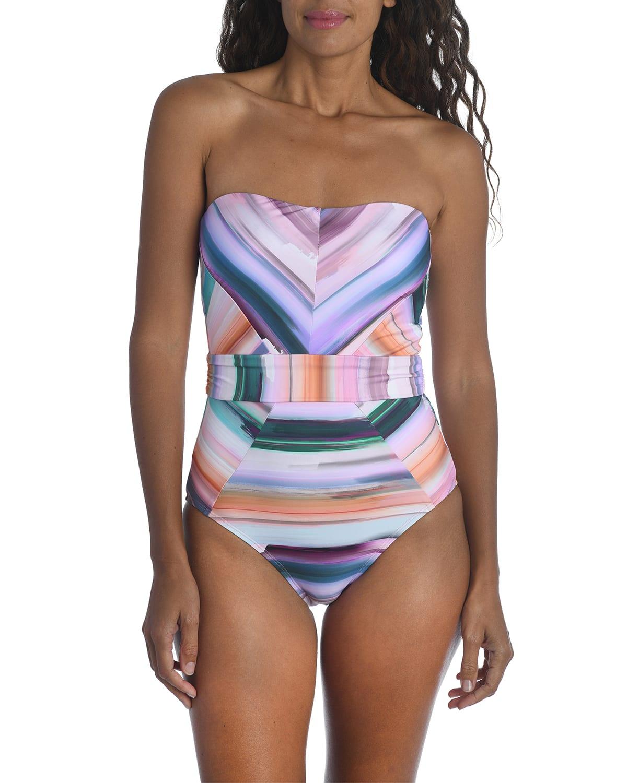 Ocean Tides Bandeau One-Piece Swimsuit