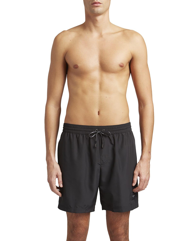 Men's Long Solid Swim Shorts