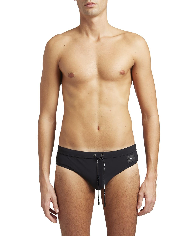Men's Solid Drawstring Swim Briefs
