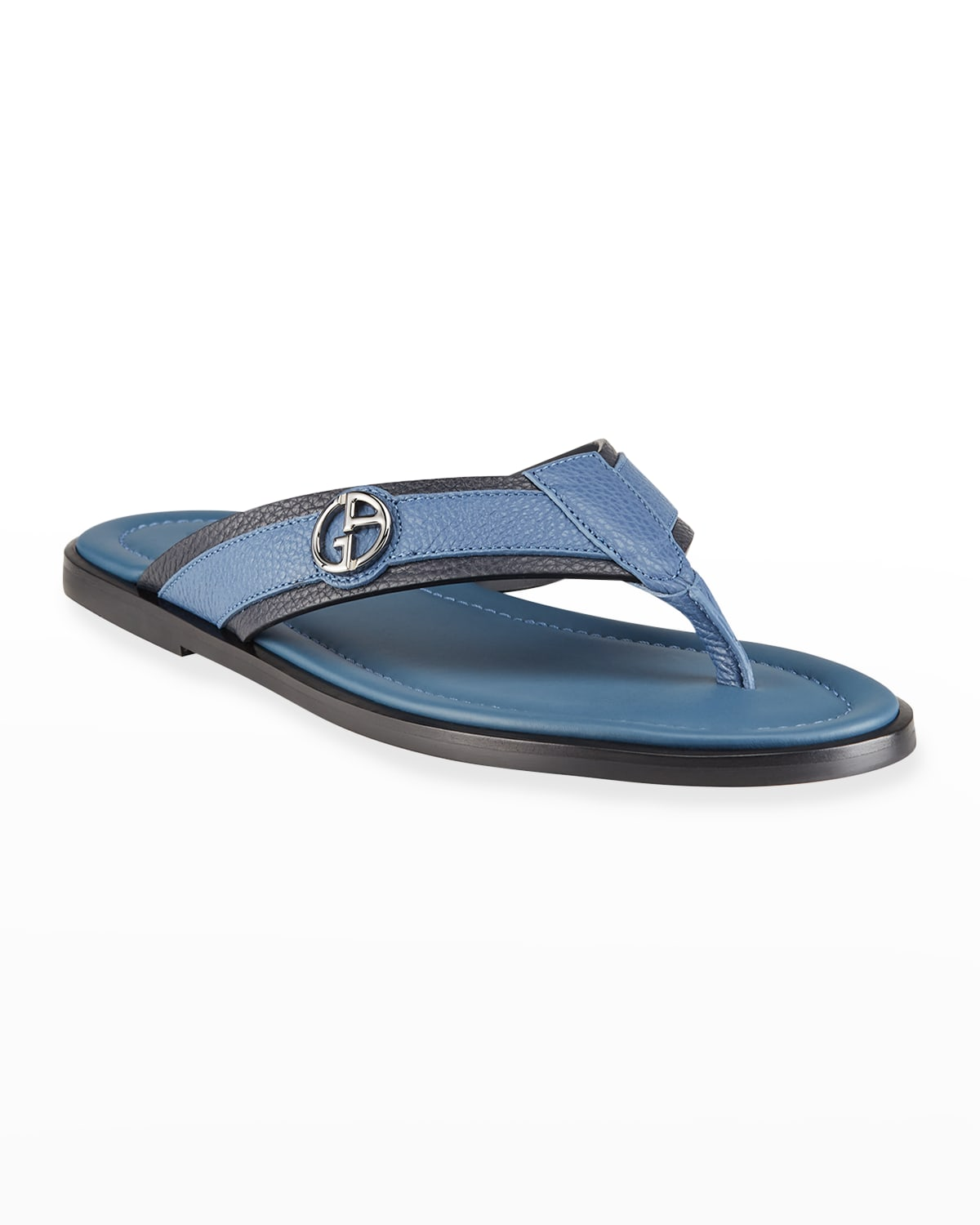 Men's Logo Two-Tone Leather Thong Sandals