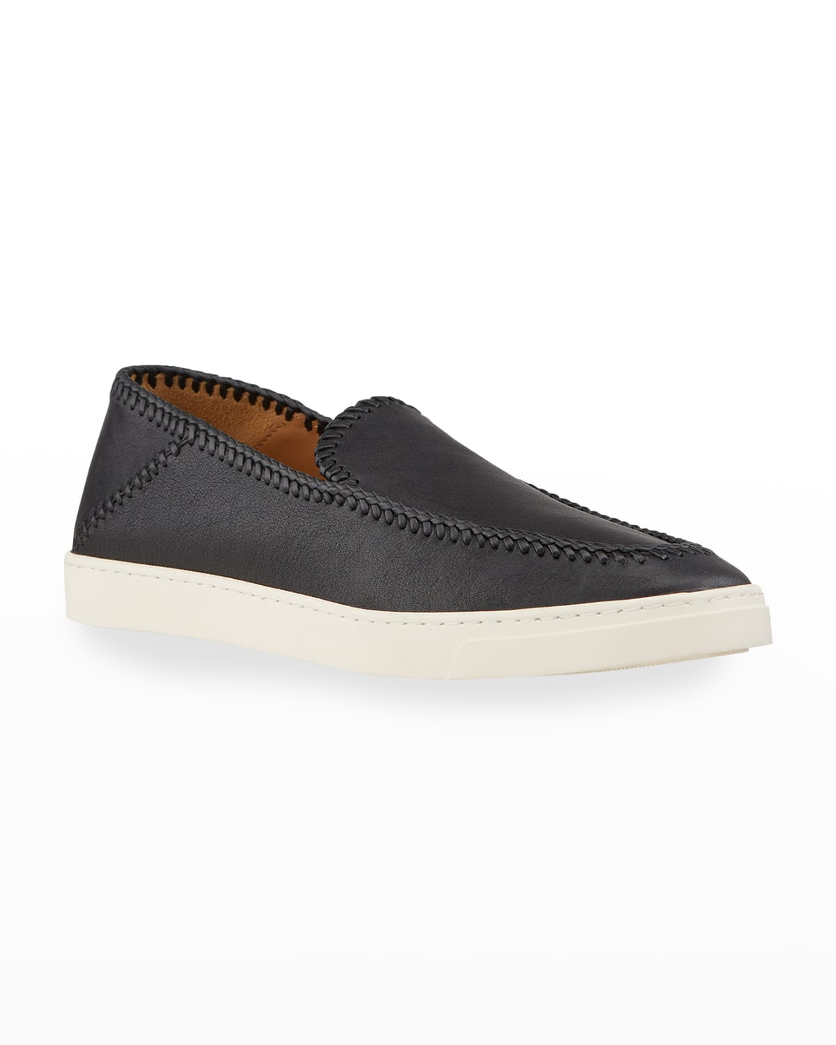 Men's Woven Leather Slip-On Shoes