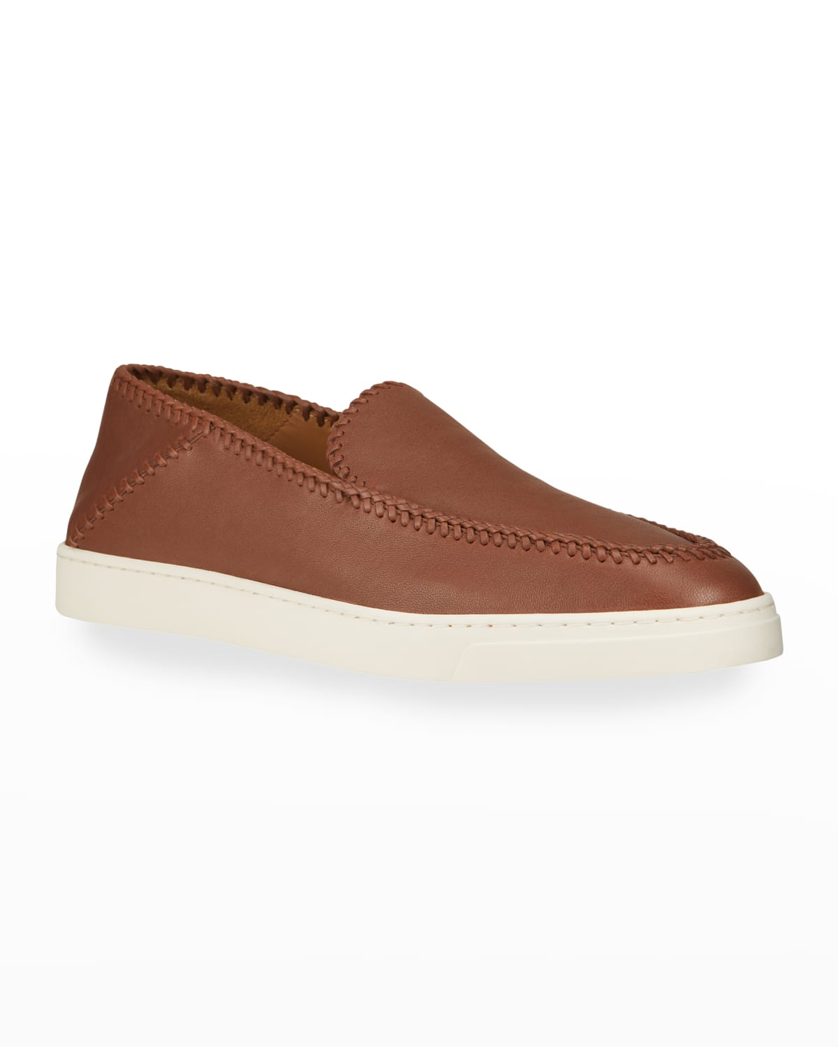 Men's Braided Leather Slip-On Shoes