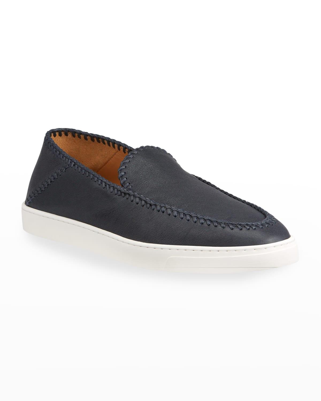 Men's Woven Leather Slip-Ons