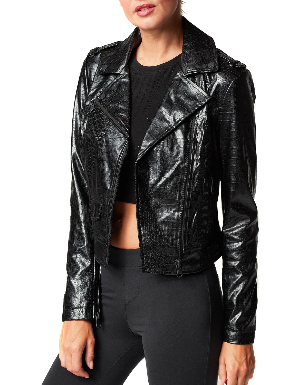 Eco-Infused Faux-Leather Embossed City Moto Jacket