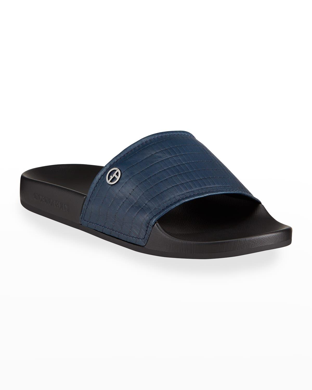 Men's Textured Leather Slide Sandals
