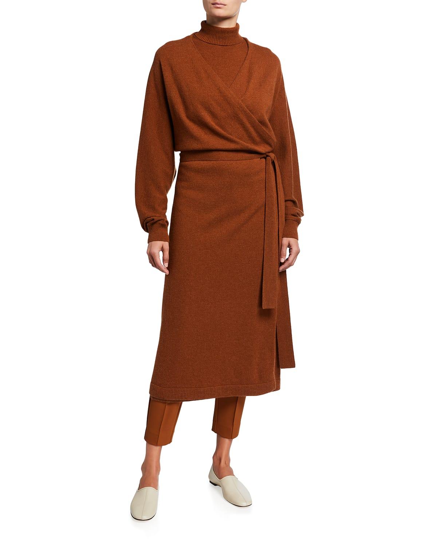 Dolman-Sleeve Cashmere Wrap Cardigan Dress