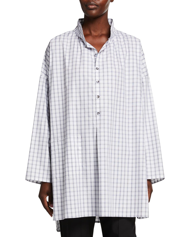 Sloped-Shoulder Wide A-Line Shirt