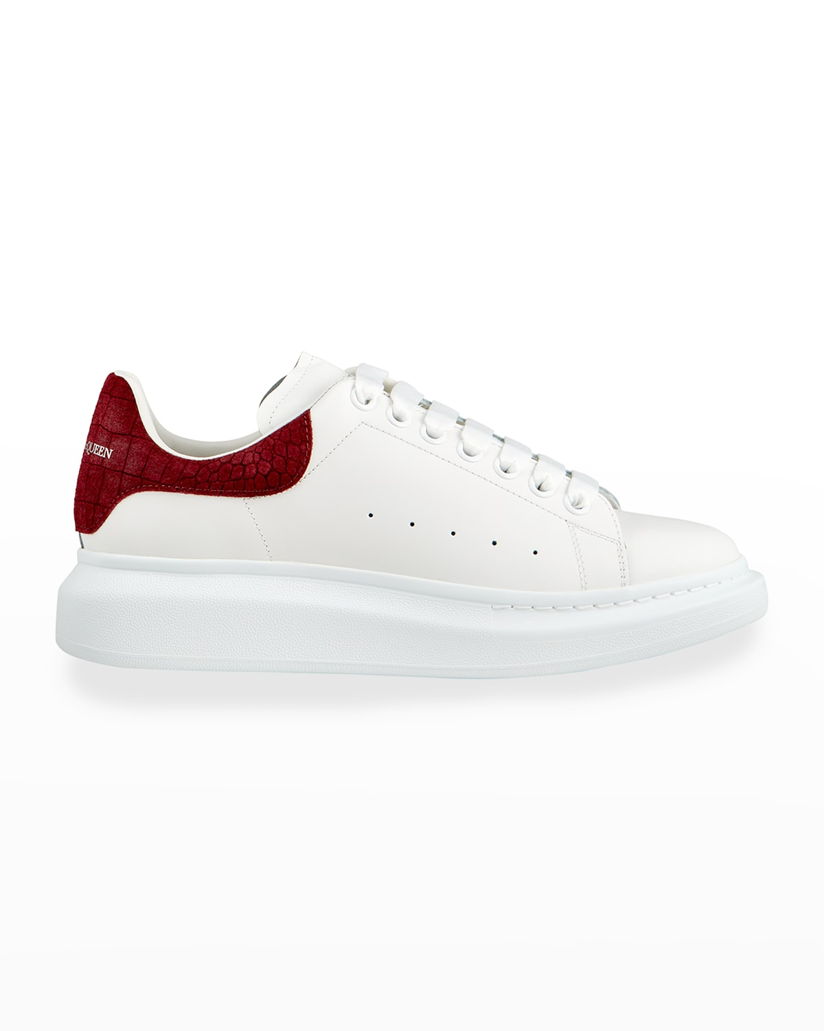 Men's Leather Chunky Sneakers w/ Croc-Embossed Trim