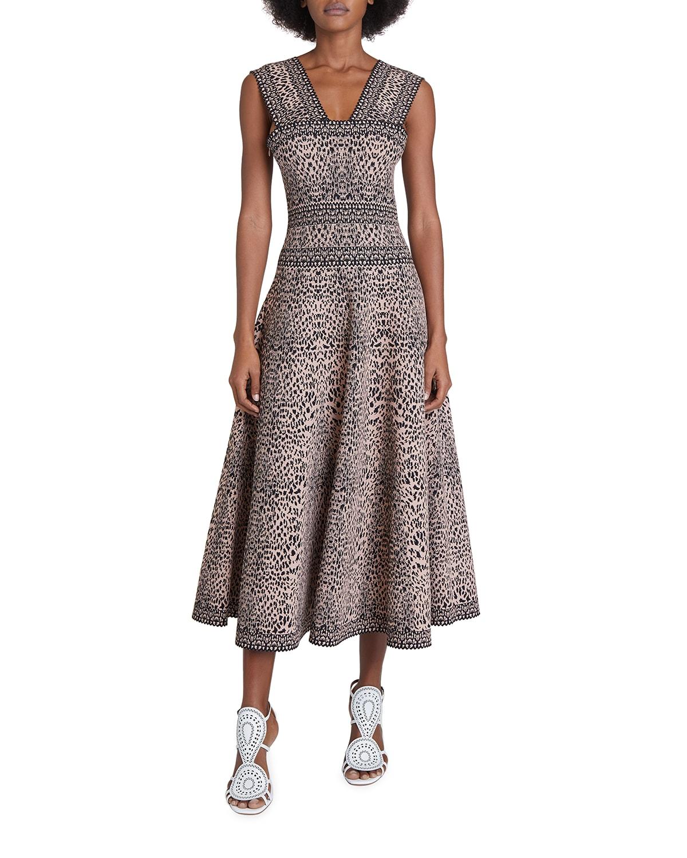 Leopard Print Midi A-Line Dress