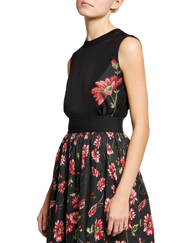 Floral-Printed Sleeveless Wool Top
