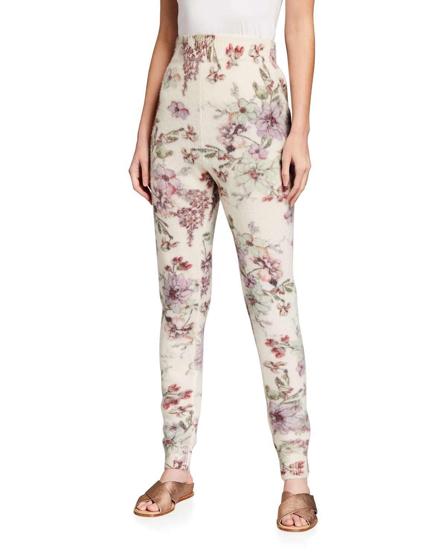 Floral Printed Cashmere-Silk Sweatpants