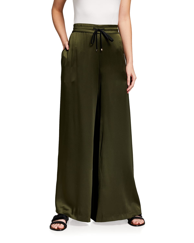 Silk Charmeuse Wide-Leg Drawstring Pants